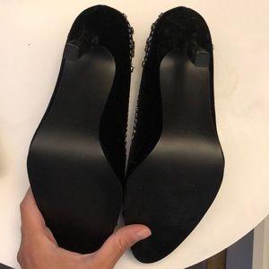 Colin Stuart Shoes - Soft velvet black jeweled pump